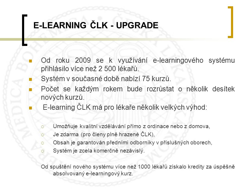 E-LEARNING ČLK - UPGRADE