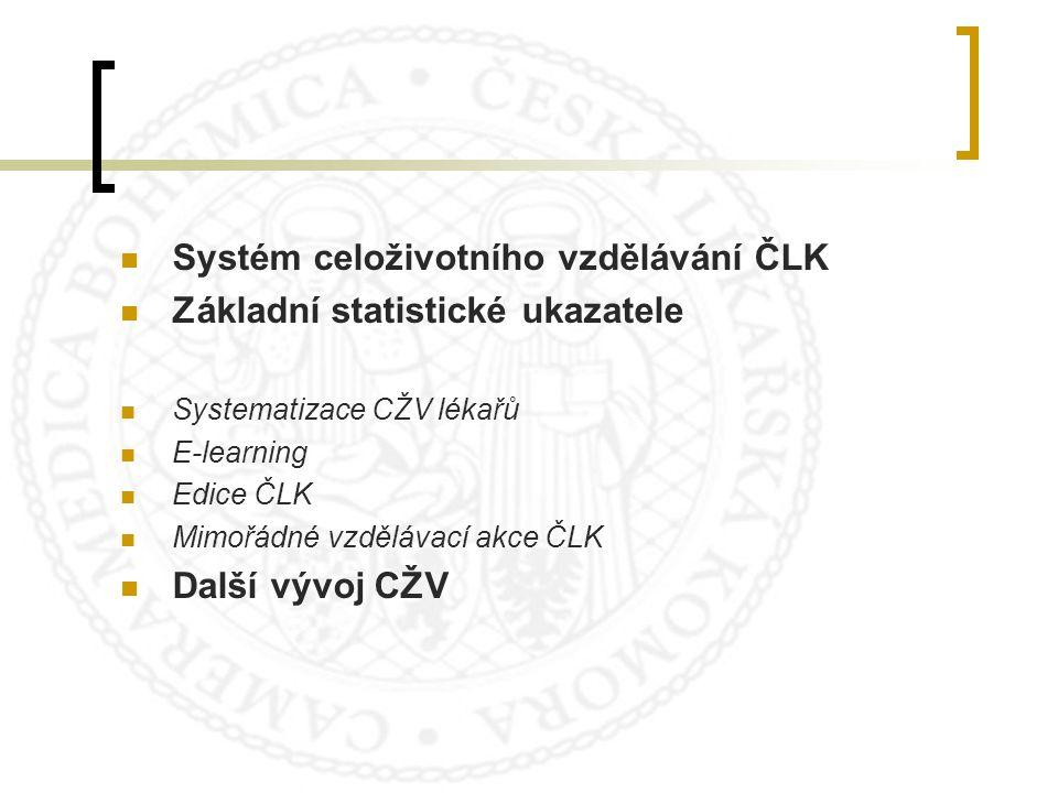 Systém celoživotního vzdělávání ČLK Základní statistické ukazatele