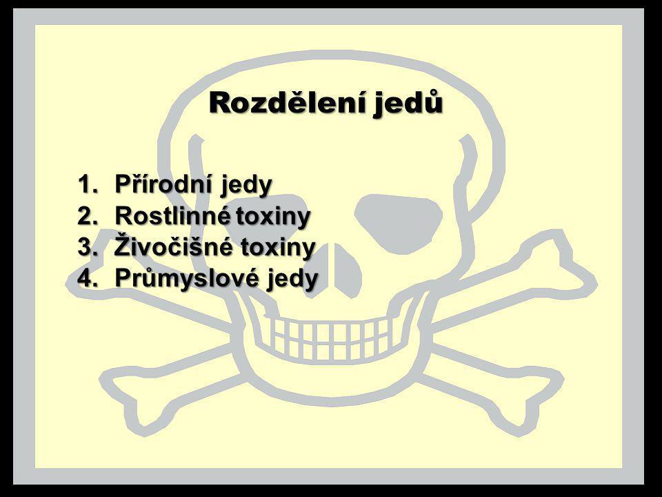 Rozdělení jedů Přírodní jedy Rostlinné toxiny Živočišné toxiny