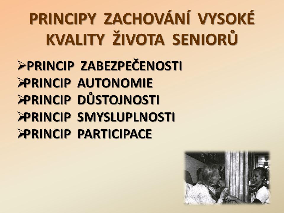 PRINCIPY ZACHOVÁNÍ VYSOKÉ KVALITY ŽIVOTA SENIORŮ