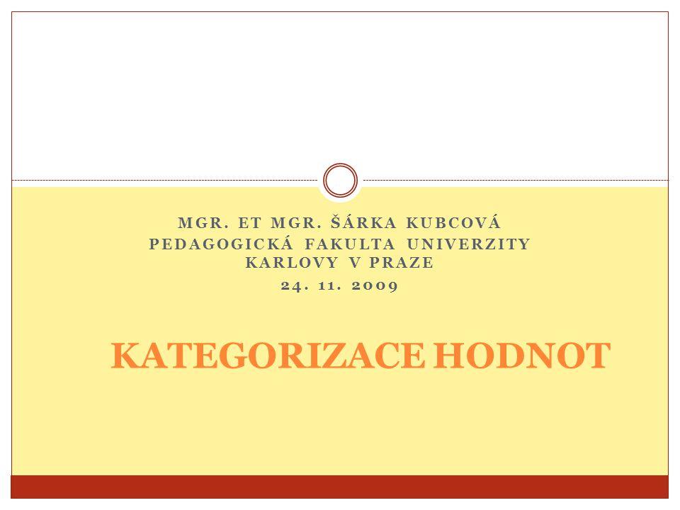 KATEGORIZACE HODNOT Mgr. et Mgr. Šárka Kubcová