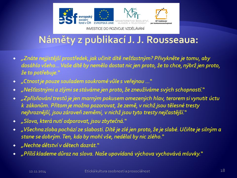 Náměty z publikací J. J. Rousseaua: