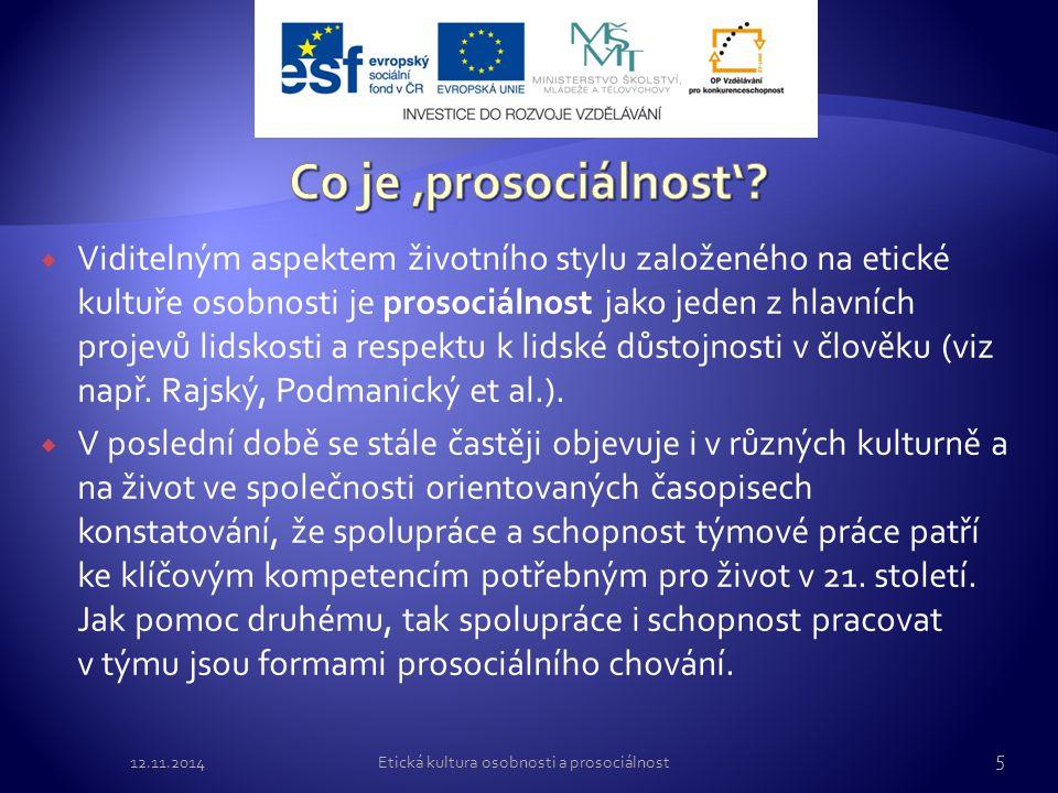 Etická kultura osobnosti a prosociálnost