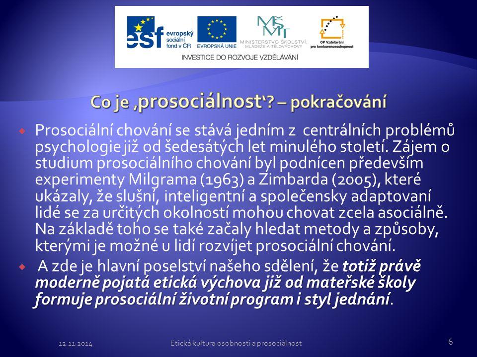 Co je 'prosociálnost' – pokračování