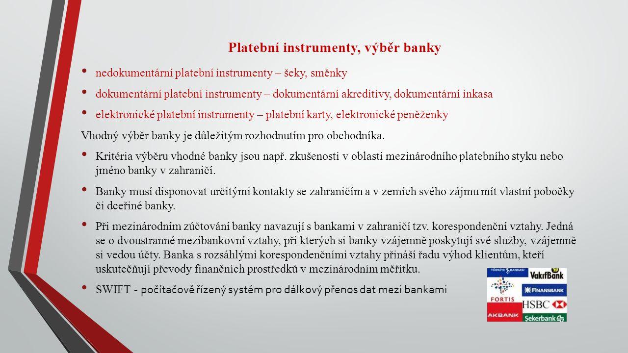 Platební instrumenty, výběr banky