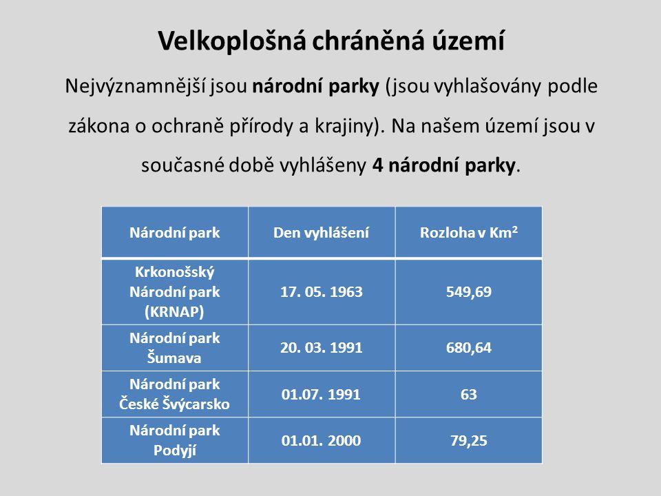 Velkoplošná chráněná území Krkonošský Národní park (KRNAP)