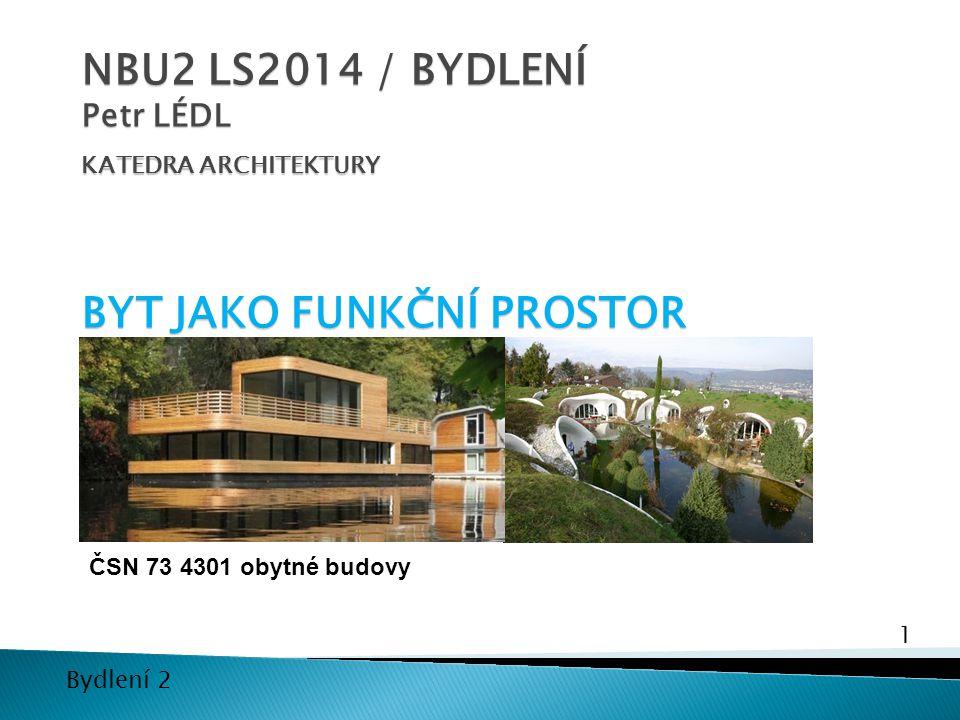 NBU2 LS2014 / BYDLENÍ Petr LÉDL KATEDRA ARCHITEKTURY BYT JAKO FUNKČNÍ PROSTOR