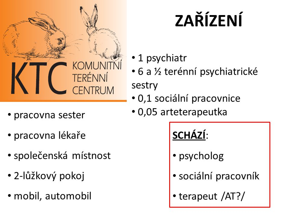 ZAŘÍZENÍ 1 psychiatr 6 a ½ terénní psychiatrické sestry