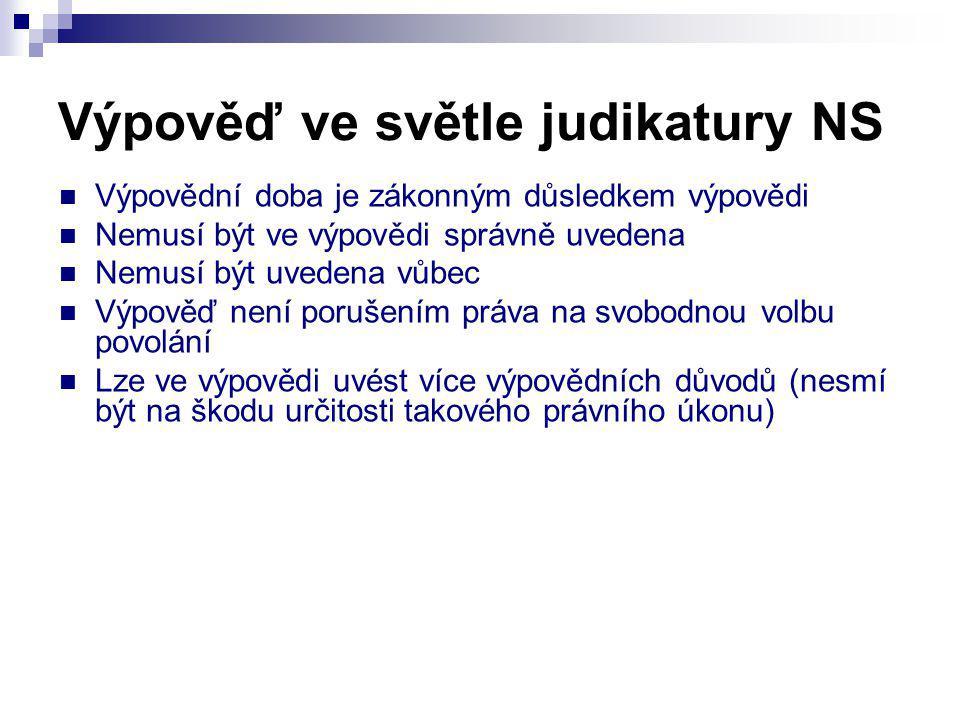 Výpověď ve světle judikatury NS