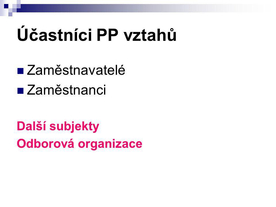 Účastníci PP vztahů Zaměstnavatelé Zaměstnanci Další subjekty