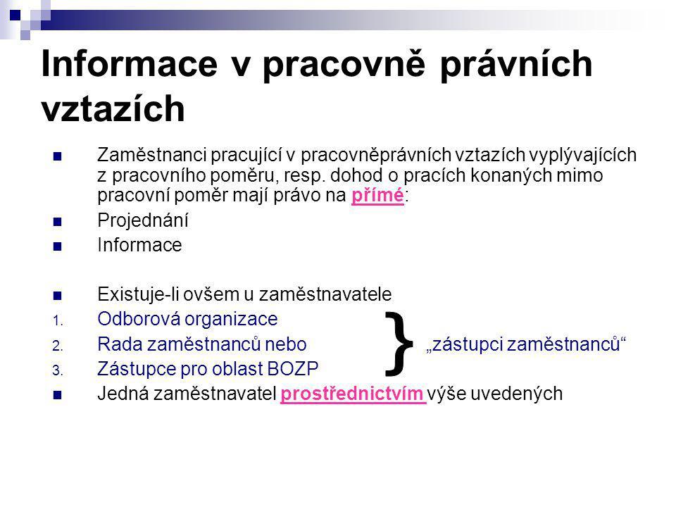 Informace v pracovně právních vztazích