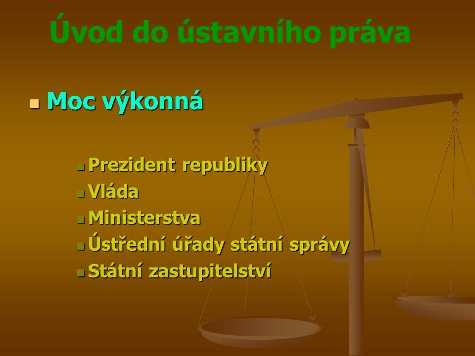 Moc výkonná Prezident republiky Vláda Ministerstva