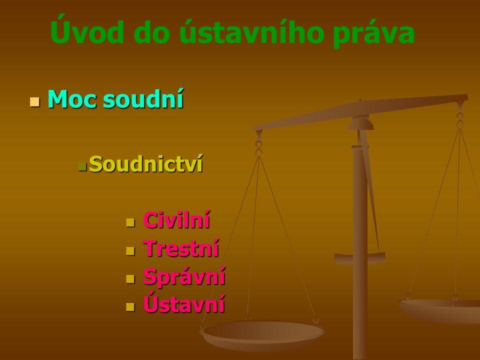 Moc soudní Soudnictví Civilní Trestní Správní Ústavní