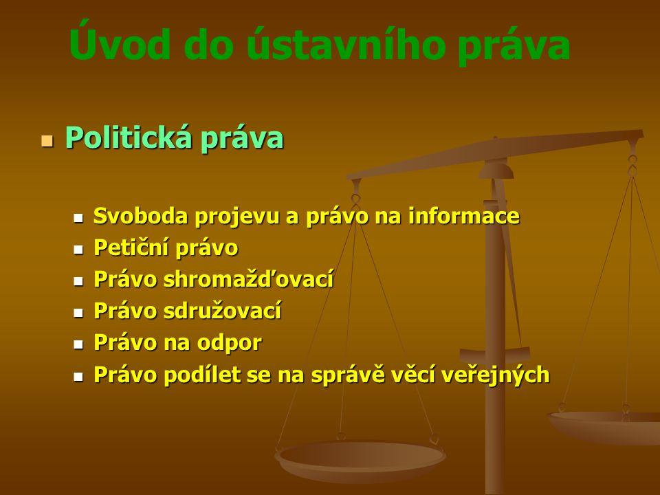 Politická práva Svoboda projevu a právo na informace Petiční právo