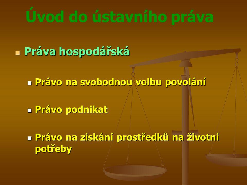 Práva hospodářská Právo na svobodnou volbu povolání Právo podnikat
