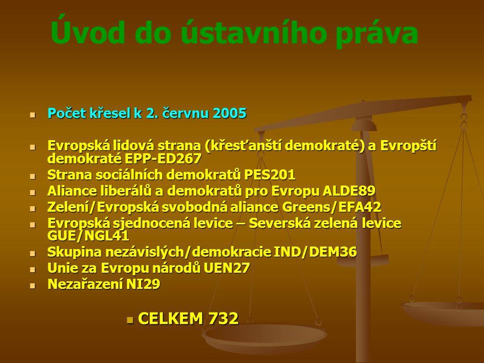 CELKEM 732 Počet křesel k 2. červnu 2005