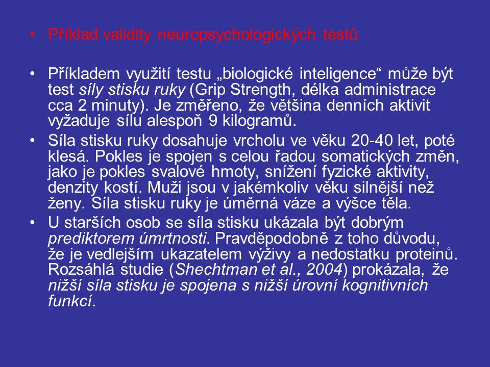 Příklad validity neuropsychologických testů