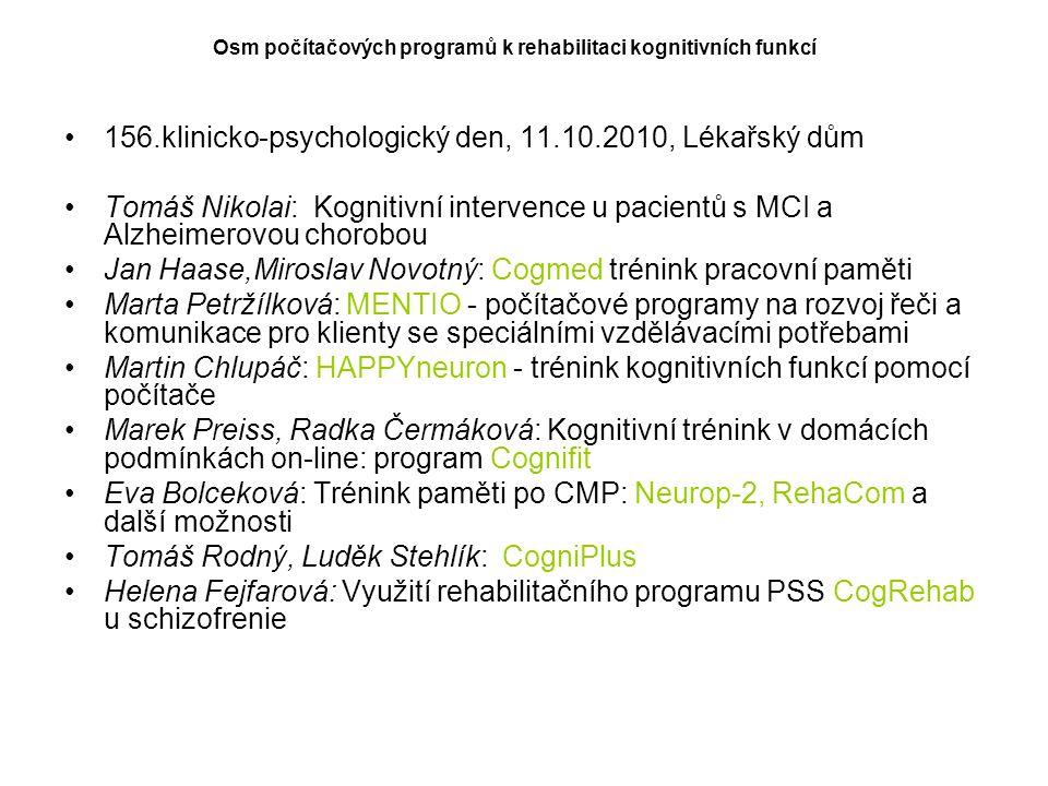 156.klinicko-psychologický den, 11.10.2010, Lékařský dům
