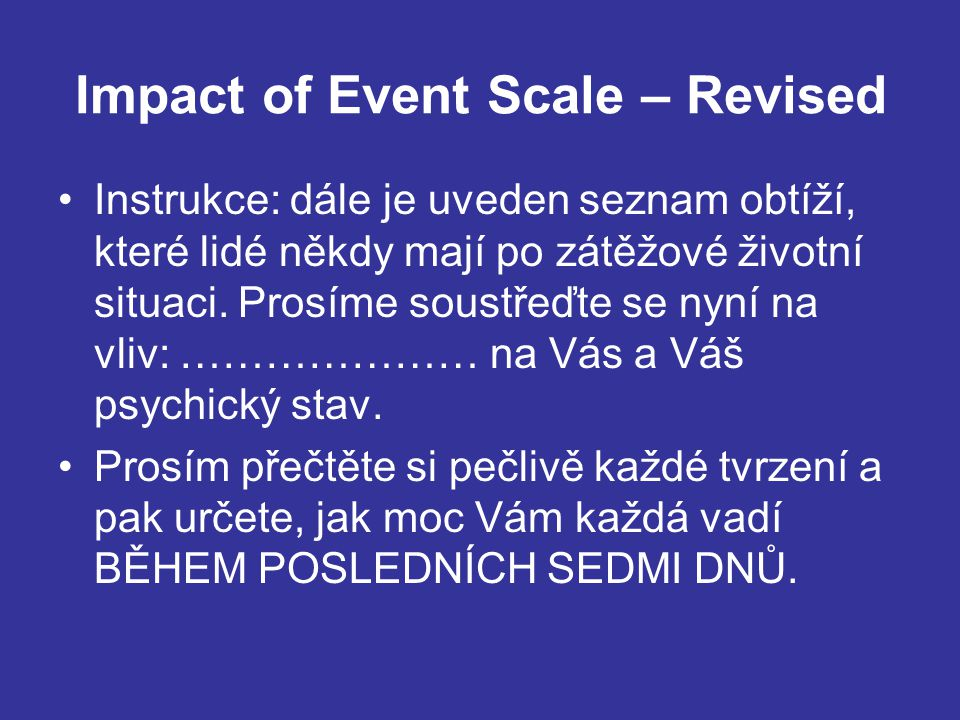 Impact of Event Scale – Revised