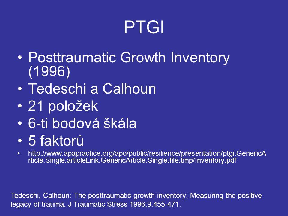 PTGI Posttraumatic Growth Inventory (1996) Tedeschi a Calhoun