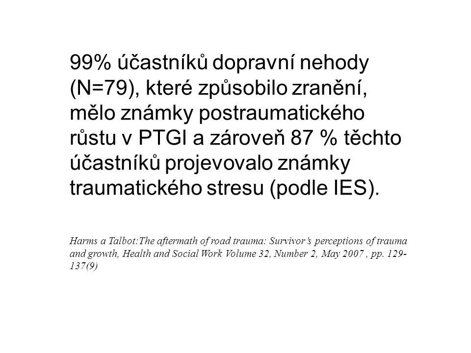 99% účastníků dopravní nehody (N=79), které způsobilo zranění, mělo známky postraumatického růstu v PTGI a zároveň 87 % těchto účastníků projevovalo známky traumatického stresu (podle IES).