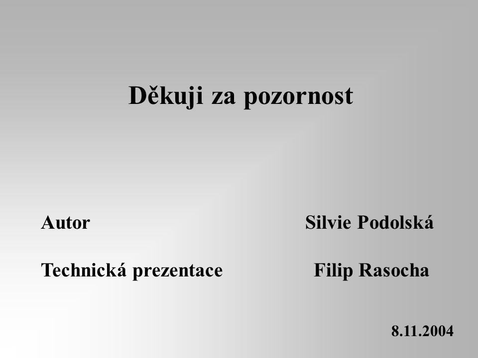 Děkuji za pozornost Autor Silvie Podolská