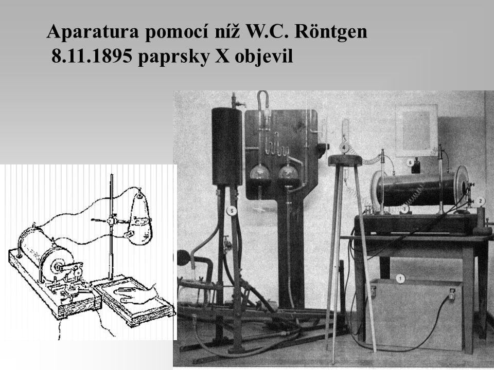 Aparatura pomocí níž W.C. Röntgen