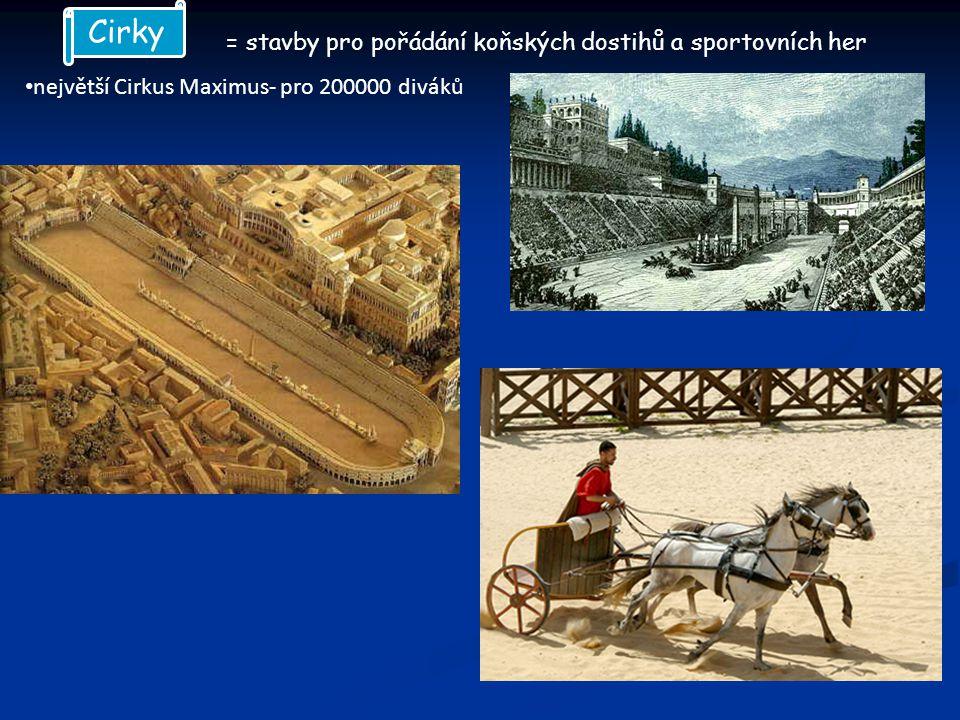 Cirky = stavby pro pořádání koňských dostihů a sportovních her