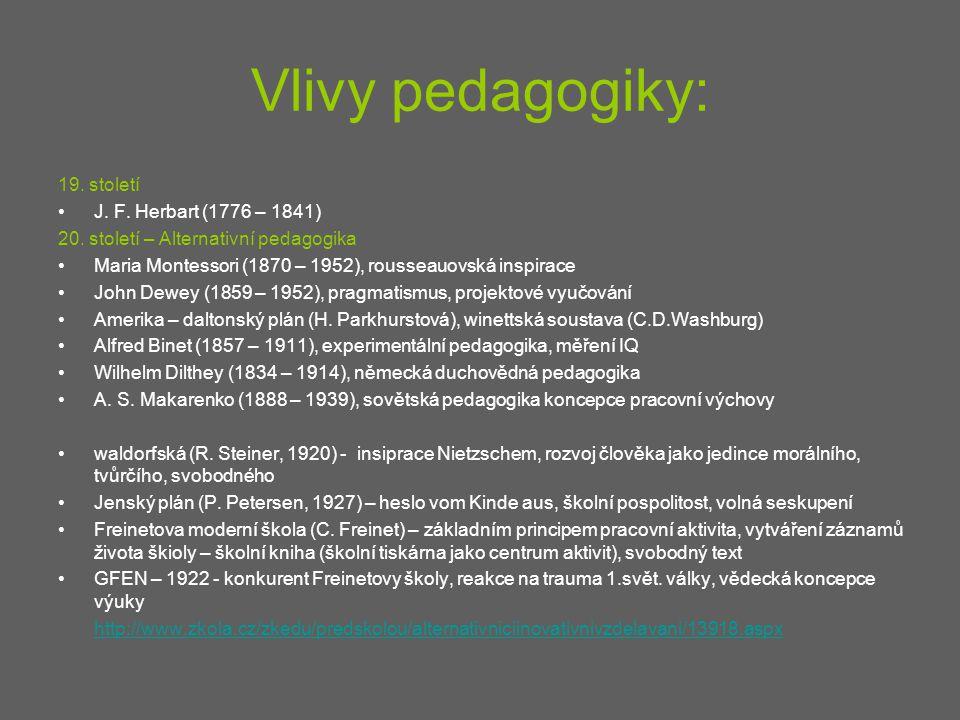 Vlivy pedagogiky: 19. století J. F. Herbart (1776 – 1841)