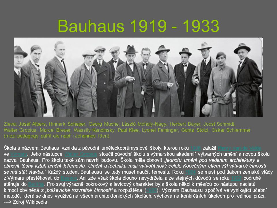 Bauhaus 1919 - 1933 Zleva: Josef Albers, Hinnerk Scheper, Georg Muche, László Moholy-Nagy, Herbert Bayer, Joost Schmidt,