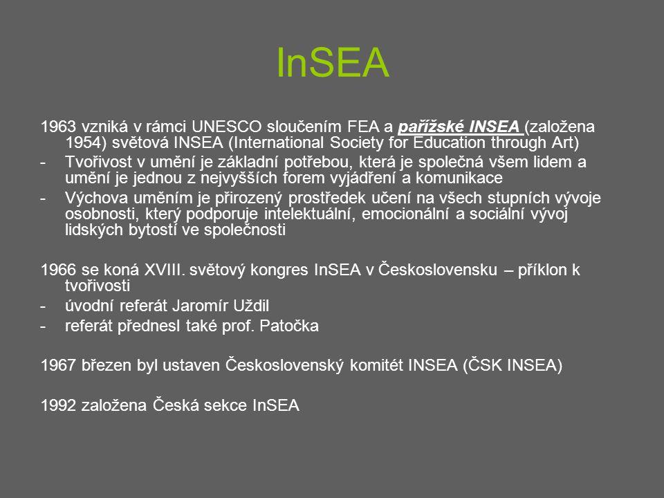 InSEA 1963 vzniká v rámci UNESCO sloučením FEA a pařížské INSEA (založena 1954) světová INSEA (International Society for Education through Art)