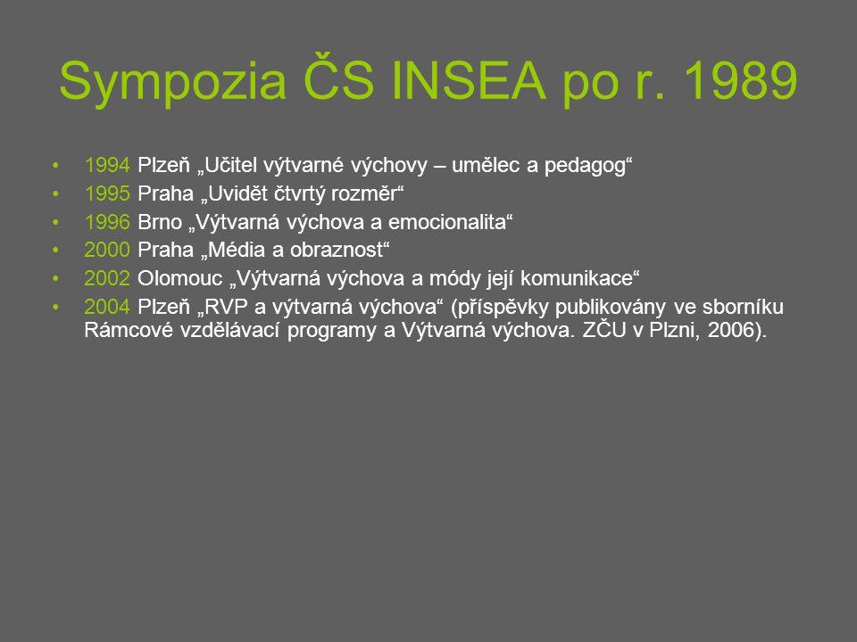 """Sympozia ČS INSEA po r. 1989 1994 Plzeň """"Učitel výtvarné výchovy – umělec a pedagog 1995 Praha """"Uvidět čtvrtý rozměr"""