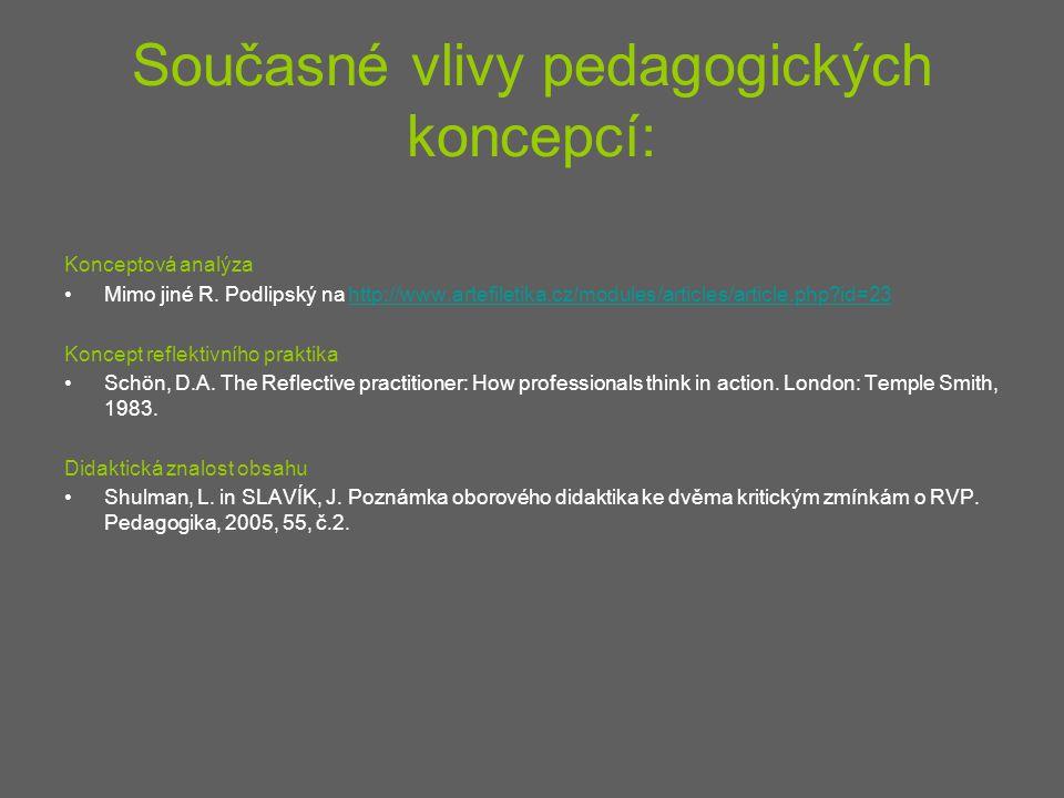 Současné vlivy pedagogických koncepcí: