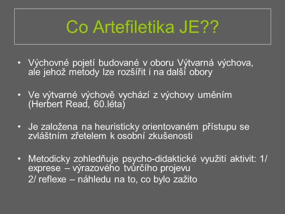 Co Artefiletika JE Výchovné pojetí budované v oboru Výtvarná výchova, ale jehož metody lze rozšířit i na další obory.