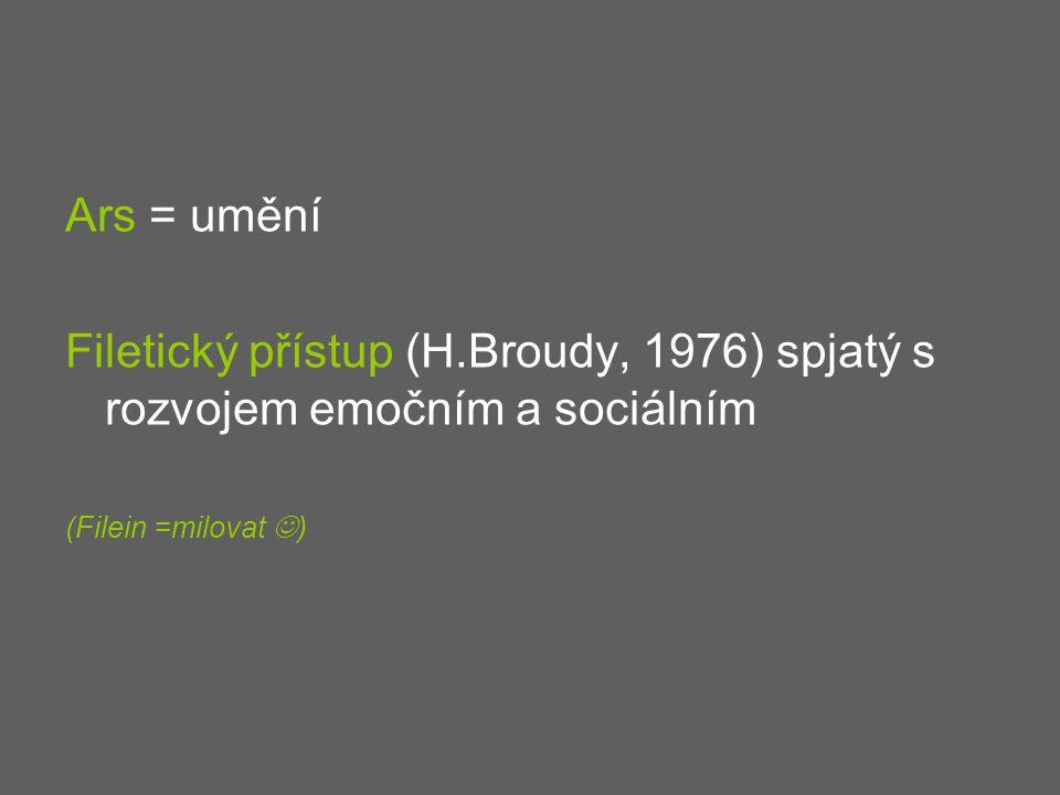 Ars = umění Filetický přístup (H.Broudy, 1976) spjatý s rozvojem emočním a sociálním.