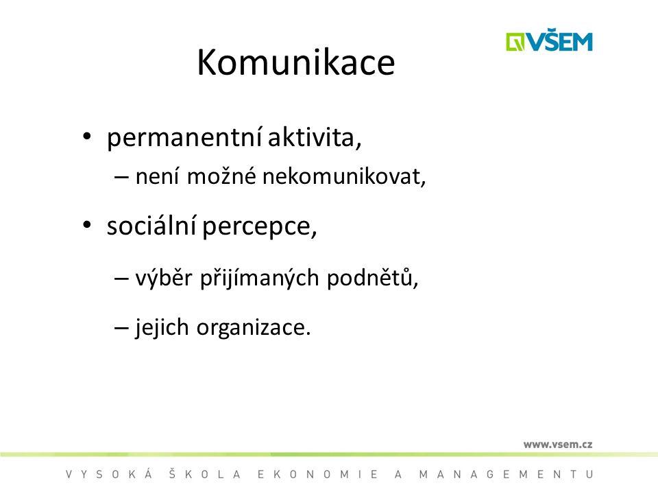 Komunikace permanentní aktivita, sociální percepce,