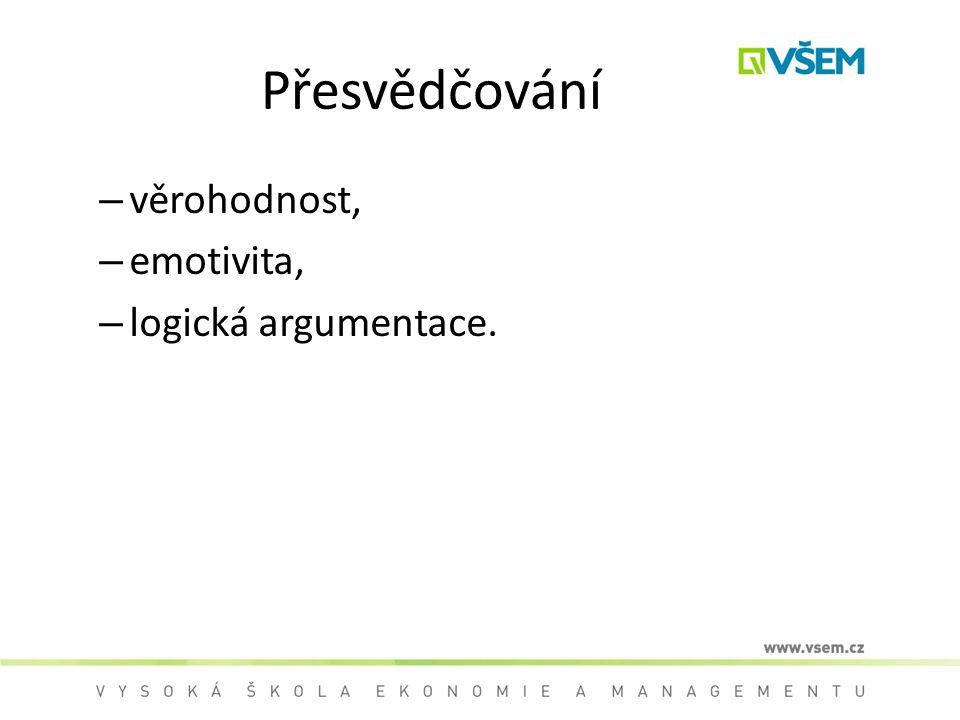 Přesvědčování věrohodnost, emotivita, logická argumentace.