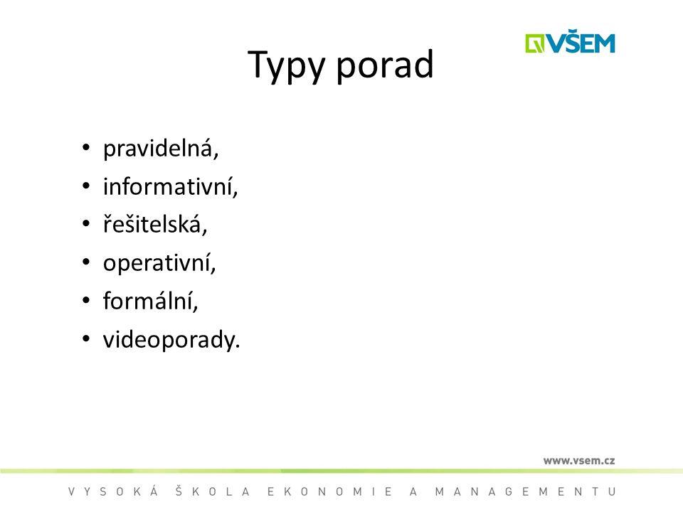 Typy porad pravidelná, informativní, řešitelská, operativní, formální,