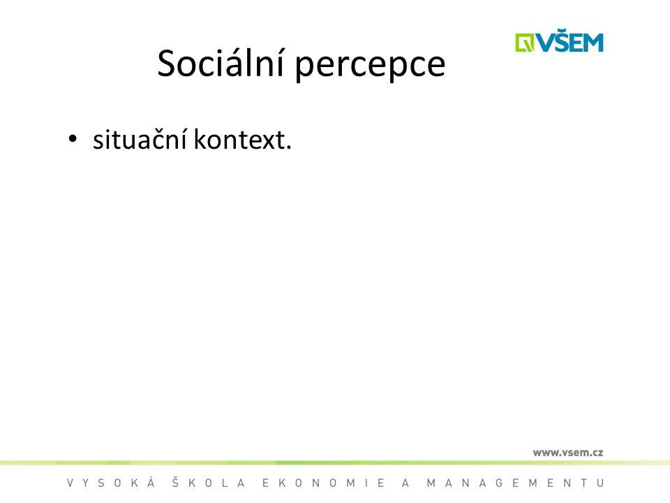 Sociální percepce situační kontext.