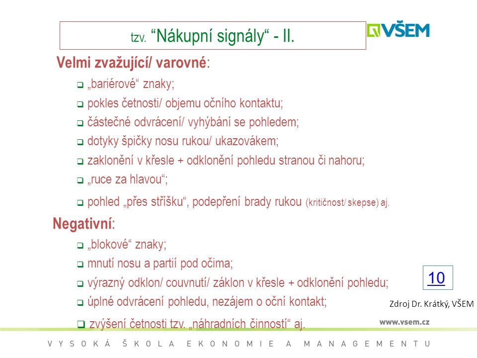 tzv. Nákupní signály - II.