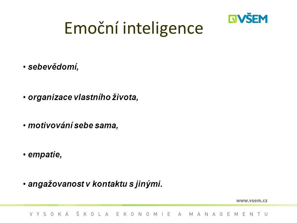 Emoční inteligence sebevědomí, organizace vlastního života,