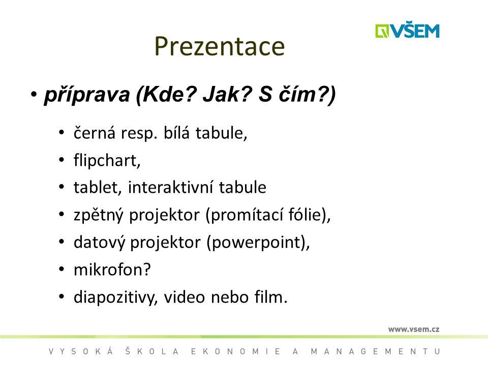Prezentace příprava (Kde Jak S čím ) černá resp. bílá tabule,