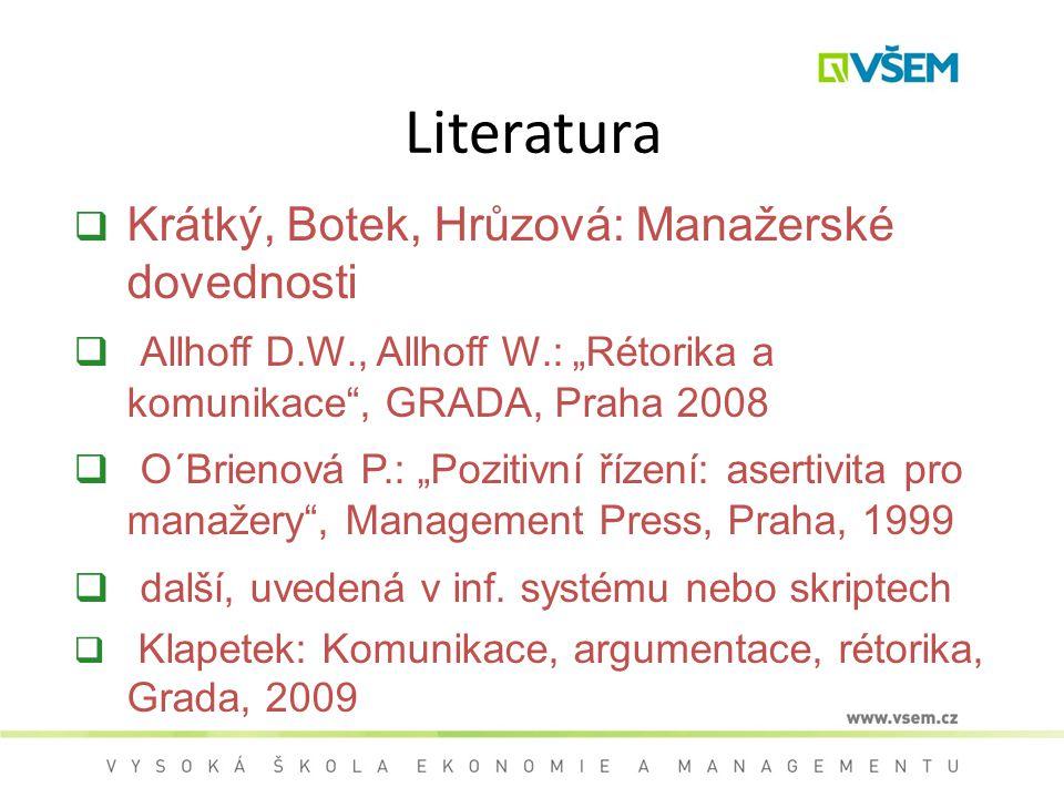 Literatura Krátký, Botek, Hrůzová: Manažerské dovednosti