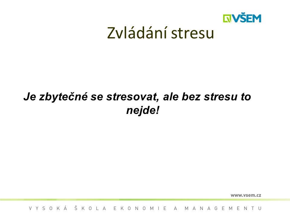 Je zbytečné se stresovat, ale bez stresu to nejde!