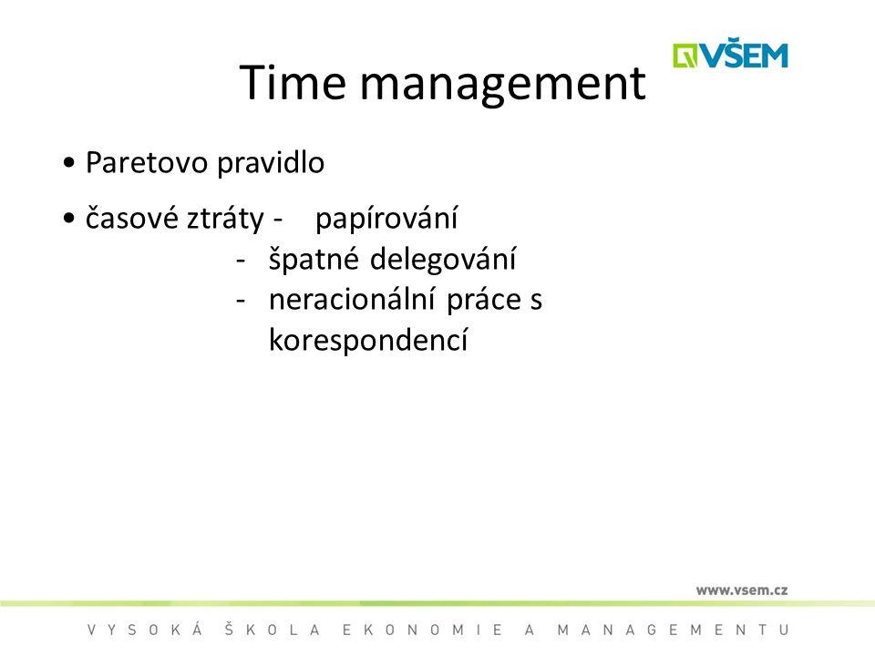 Time management Paretovo pravidlo časové ztráty - papírování