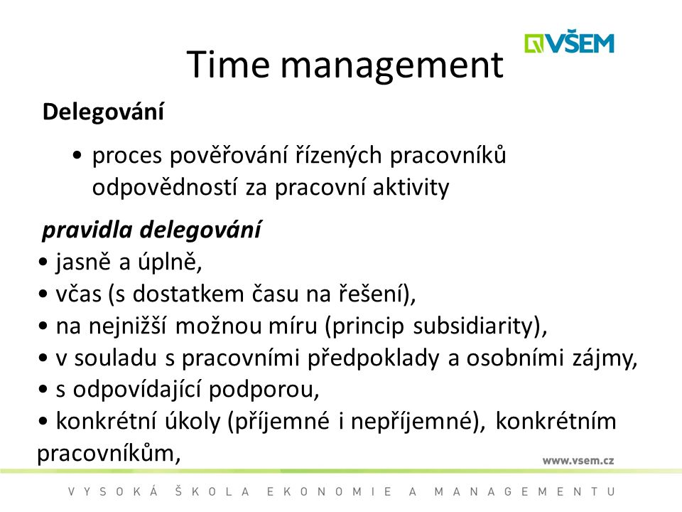 Time management Delegování