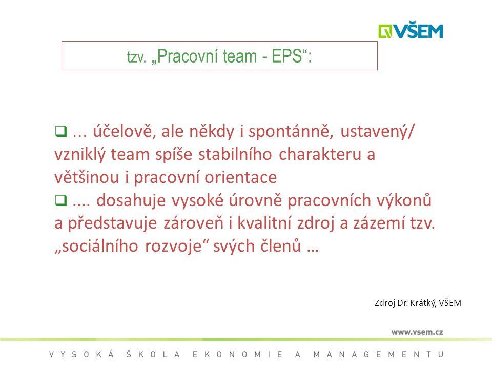 """tzv. """"Pracovní team - EPS :"""