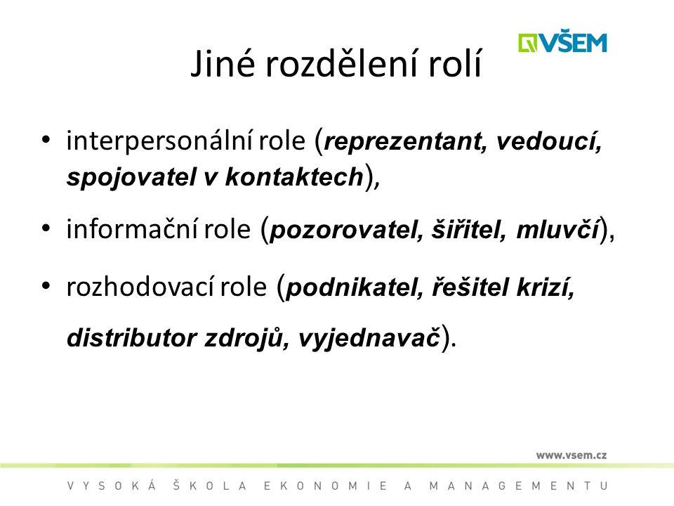 Jiné rozdělení rolí interpersonální role (reprezentant, vedoucí, spojovatel v kontaktech), informační role (pozorovatel, šiřitel, mluvčí),
