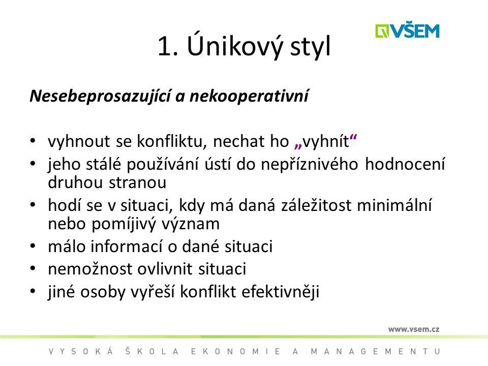 1. Únikový styl Nesebeprosazující a nekooperativní