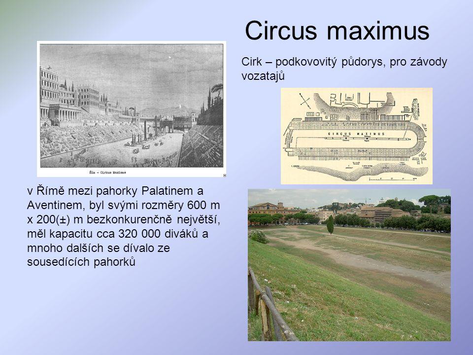 Circus maximus Cirk – podkovovitý půdorys, pro závody vozatajů